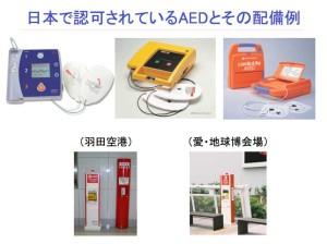 日本で認可されているAEDとその配備例
